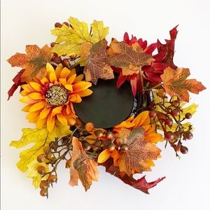 Fall leaf and floral wreath candle holder
